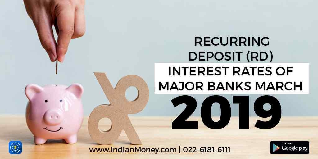 Recurring Deposit (RD) Interest Rates of Major Banks March 2019
