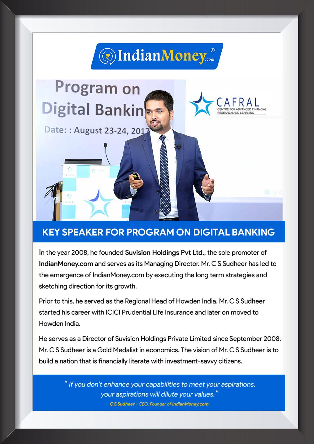 Key Speaker for Program on Digital Banking