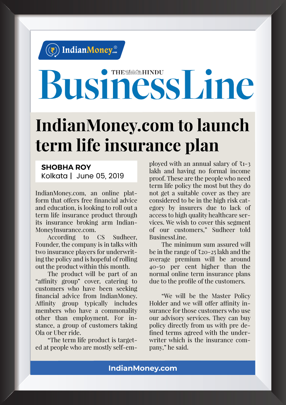 IndianMoney.com to launch term life insurance plan