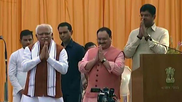 Manohar Lal Khattar takes oath as Haryana CM, Dushyant Chautala as deputy CM